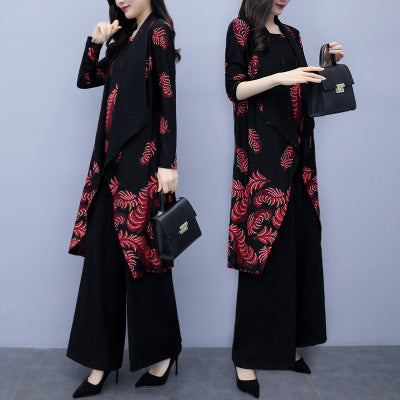 Plus Size Fall Elegant Printed Long Sleeve Blouse&Coat&Wide-leg Pants Three Piece Set