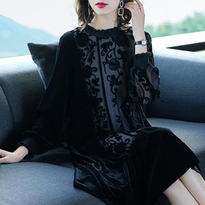 Plus Size Fall Winter Elegant Black Velvet/Gauze Flower Embroidery Loose Dresses