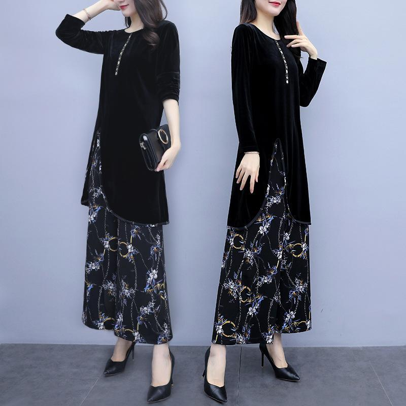 Plus Size Fall Elegant Printed Long Sleeve Velvet Tops&Wide-leg Pants Two Piece Set
