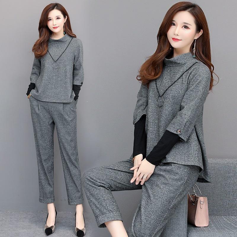 Plus Size Fall Winter Elegant Solid Color Coat&Pants 2 Piece Set For Women