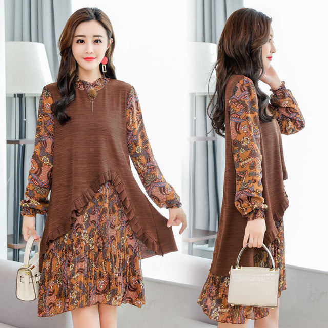 Plus Size Fall Winter Casual Caramel/Black Floral Printed Patchwork Chiffon/Knit Dresses