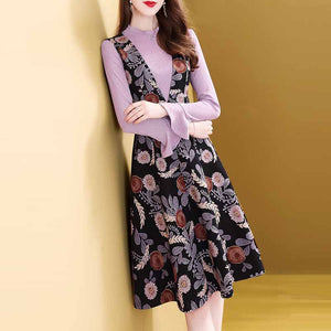 Fall Sweet Floral Printed Long Sleeve Knit Tops&Skirt Two Piece Set Women
