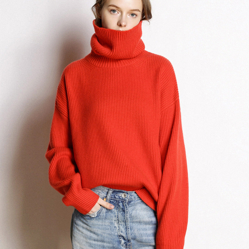 Fall Winter Retro Lazy Warm Cashmere Turtle Neck Knit Sweaters Women