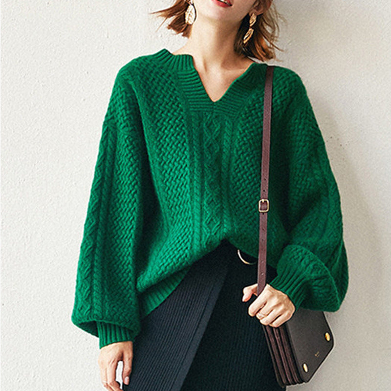 Fall Winter Retro Lazy Warm Wool V-neck Solid Color Loose Knit Sweaters Women