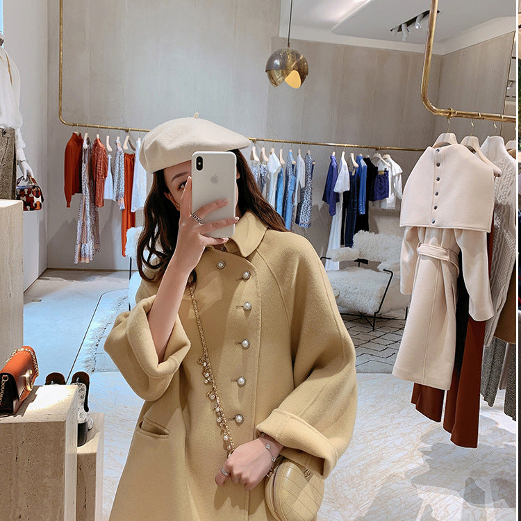 Fall Winter Fancy Yellow/Dark Pink Long Sleeve Loose Midi Overcoat For Women