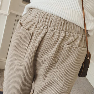 Plus Size Fall Winter Casual Corduroy Loose Capri-pants For Women
