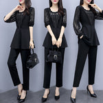 Plus Size Fall Black Elegant Long Sleeve Tops&Pants Two Piece Set