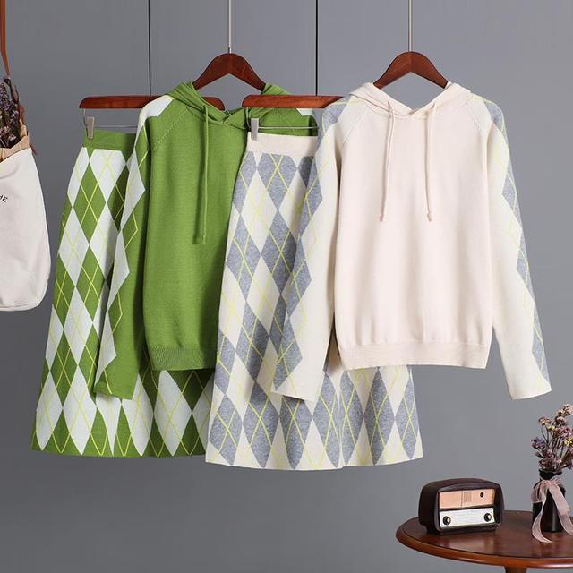 Fall Winter Vintage Diamond Knit Sweater&Skirt Two Piece Set For Women