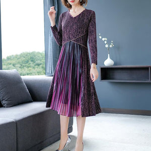 Fall Winter Elegant Striped V-neck Splicing Midi Dresses