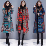 Plus Size Fall Winter Casual Printed Fleece-lined Hooded Midi Coats For Women