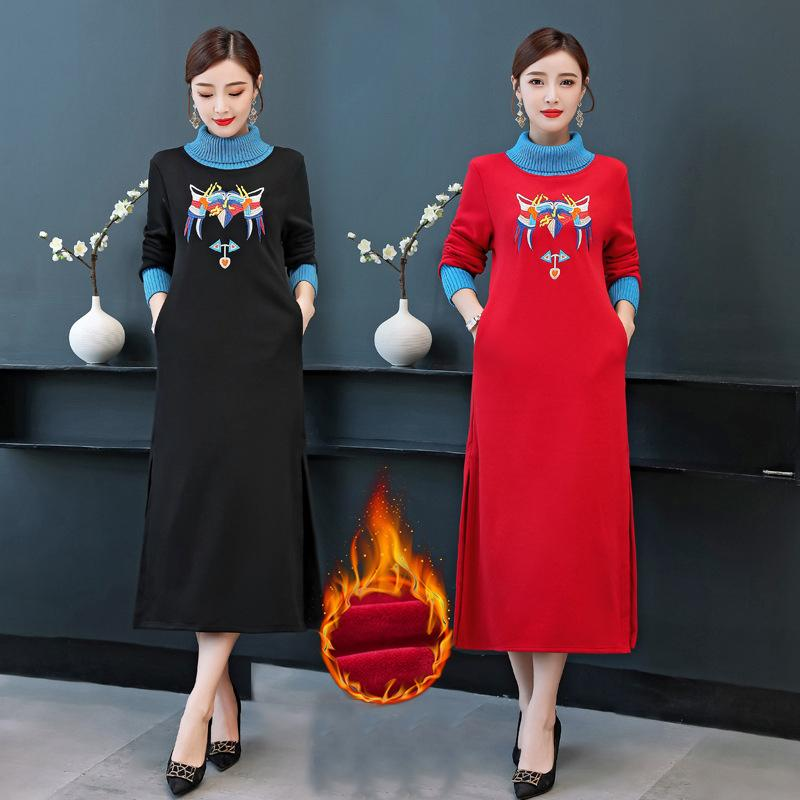 Plus Size Fall Winter Elegant Creative Embroidery Turtle Neck Knit Sweater Dresses For Women