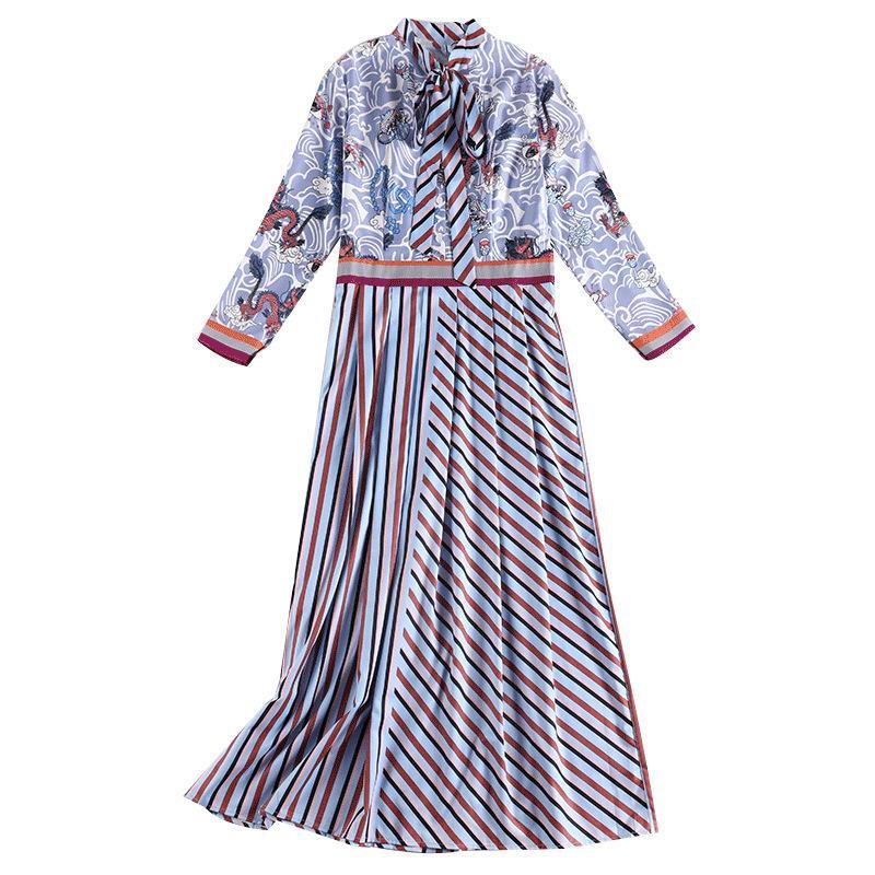Plus Size Fall Fancy Printed Bow Midi Dresses For Women