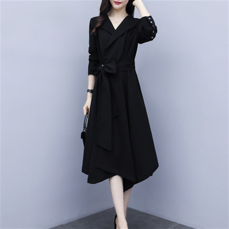 Fall/Winter Elegant Black Solid Color Waist Long Sleeve Midi Dresses Women