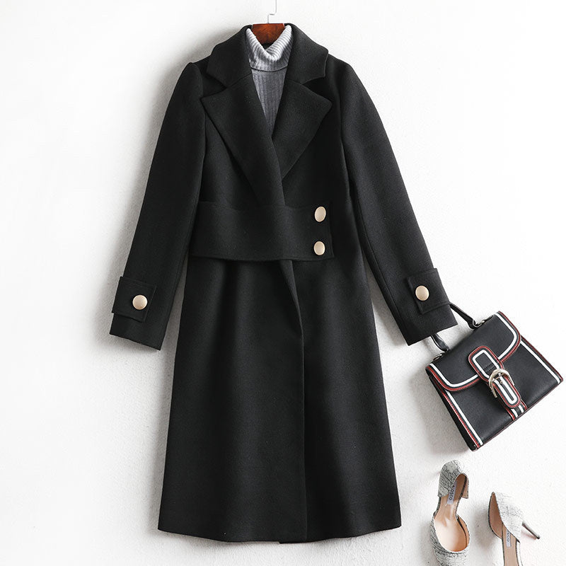 Plus Size Fall Winter Fancy Black Wool Solid Color Overcoats For Women