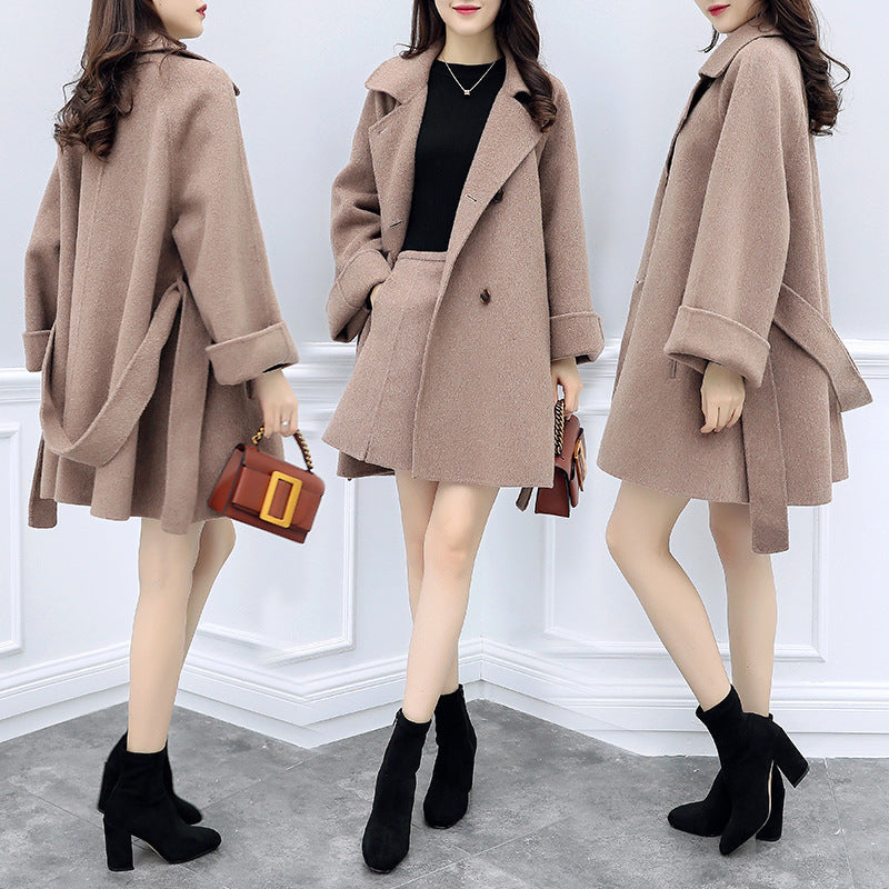 Plus Size Fall Winter Fancy Waist Solid Color Loose Midi Overcoat&Skirts Two Piece Set Women