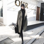 Fall Winter Fashion Green/Black Wool Solid Color Overcoats For Women