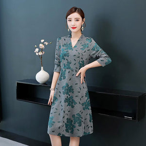 Elegant Flower Printed V-neck Midi Dresses For Women