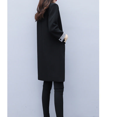 Fall Winter Black Casual Solid Color Midi Suits Coat For Women