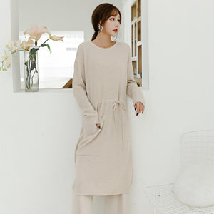 Fall Winter Casual O-neck Waist Knit Maxi Sweater Dresses For Women