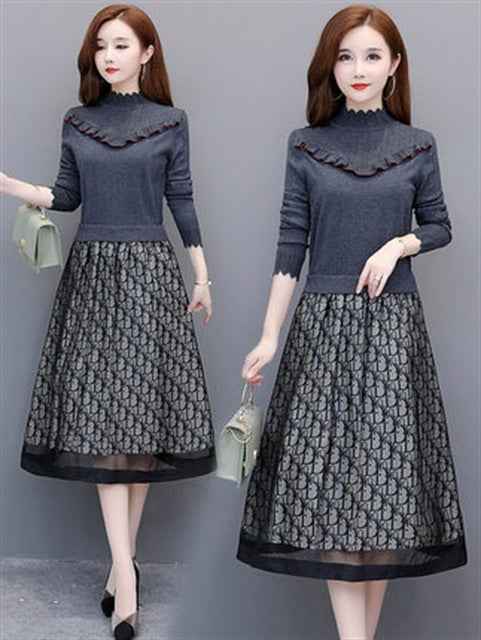 Fall Winter Elegant Printed Knit Fake 2 Piece Patchwork Dresses For Women