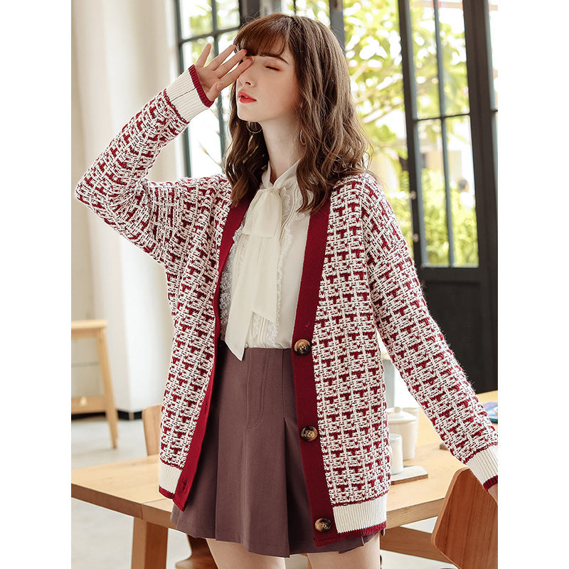 Fall Winter Fancy V-neck Sweaters Color Blocking Long Sleeve Knitting Cardigan Coat For Women