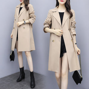 Plus Size Fall Casual Khaki Embroidery Long Sleeve Loose Trench Coat Women