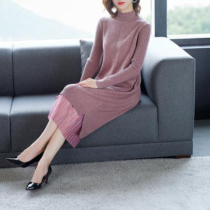 Fall Winter Elegant Mock Neck Knit Loose Sweater Dresses For Women