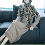 Fall Winter Elegant Leaf Printed Knit Maxi Sweater Dresses For Women