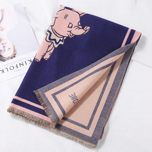 Must-have Fall Winter Cute Elephant Cartoon Color Blocking Functional Cape/Scarf  For Women