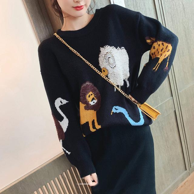 Fall Winter Fancy Animal Pattern Knit Sweater&Skirt Two Piece Set For Women