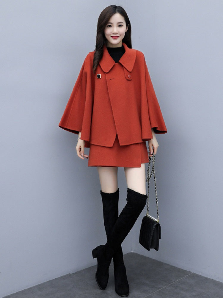 Plus Size Fall Winter Elegant Wool Cape Coat&Shorts Two Piece Set For Women