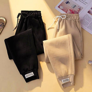 Plus Size Fall Winter Casual Warm Wool Thicken Loose Radish Pants For Women