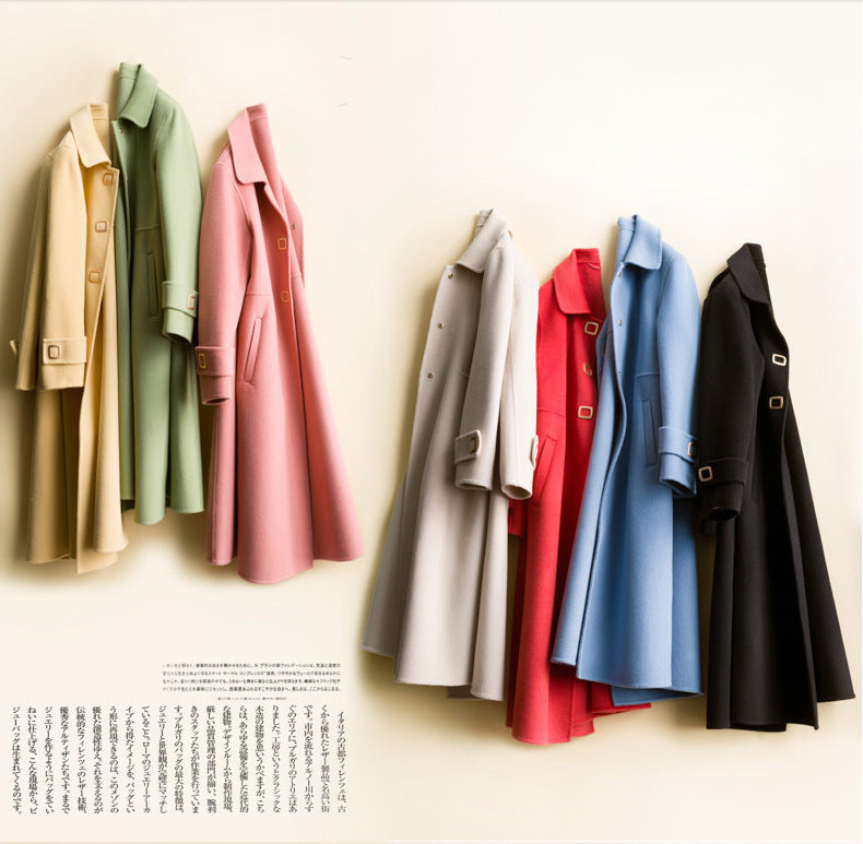 Fall Winter Elegant Solid Color Wool Long Sleeve Midi Overcoat Women