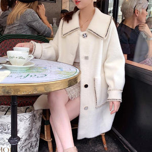 Fall Winter Fancy Mink-like Knit Loose Midi Overcoats For Women
