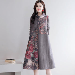 Elegant Retro Flower Printed Turtle Neck Loose Dresses For Women