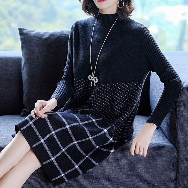 Fall Winter Elegant Plaid Knit Loose Knee Sweater Dresses For Women
