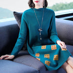 Fall Winter Elegant Color Blocking Knit Loose Sweater Dresses For Women