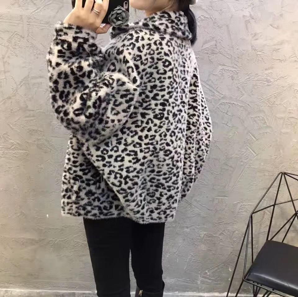 Fall Winter Fancy Leopard Mink-like Knit Loose Coats For Women
