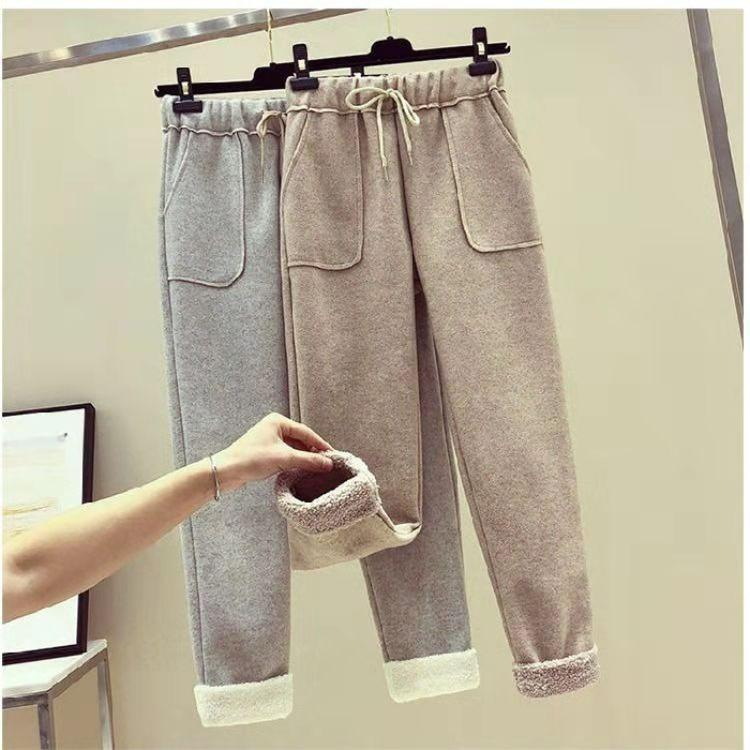 Plus Size Fall Winter Casual Warm Lamb Wool Thicken Loose Radish Pants For Women