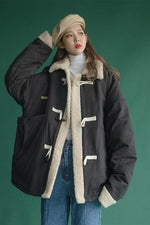 Plus Size Fall Winter Fashion Lamb Wool Warm Loose Cotton-padded Jackets Coat For Women