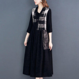 Plus Size Casual Printed V-neck Linen Maxi Coats For Women