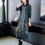 Plus Size Fall Winter Elegant Flower Printed Turtle Neck Long Sleeve Loose Dresses