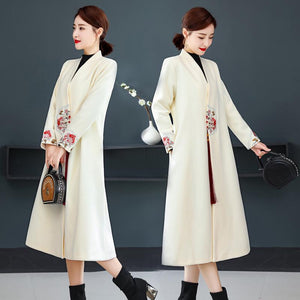 Plus Size Fall Winter Retro Embroidery Wool Midi Coats For Women