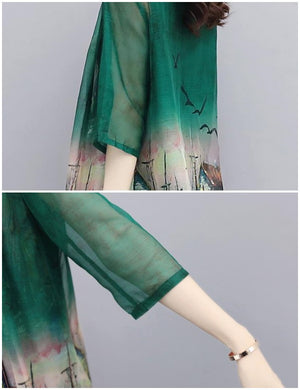 Elegant Green Printed Half Sleeve Chiffon Blouse&Coat&Capri-pants Three Piece Set