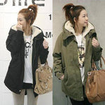 Plus Size Fall Winter Fashion Lamb Wool Warm Loose Cotton-padded Midi Jackets Coat For Women