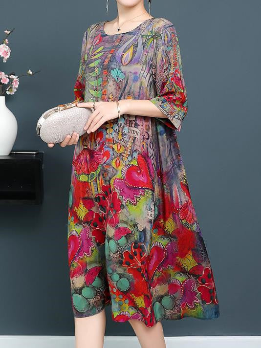 Elegant Plus Size Fairy 1/2 Sleeve Printed Loose Silk Dress Women
