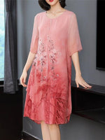 Summer Elegant Plus Size Flower Printed 1/2 Sleeve Loose Chiffon Dress