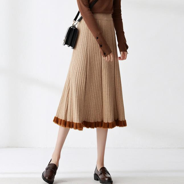 Fall/Winter Fashion Color Blocking Knitting Midi Skirts Women