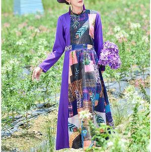 Fall Vintage Floral Printed Long Sleeve O Neck Loose Cotton&Linen Maxi Dresses