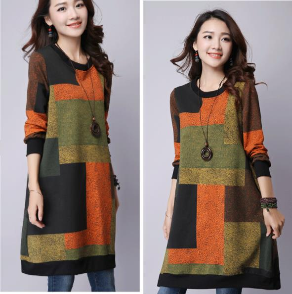 Fall Winter Casual Printed Crew Neck Long Sleeve Cotton Midi Dresses Women